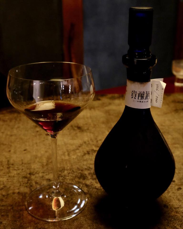 リーデル純米グラスで華鳩 貴醸酒 20年熟成 大古酒