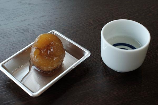 「栗のシロップ煮」と「ガラシャの里(竹野酒造)」